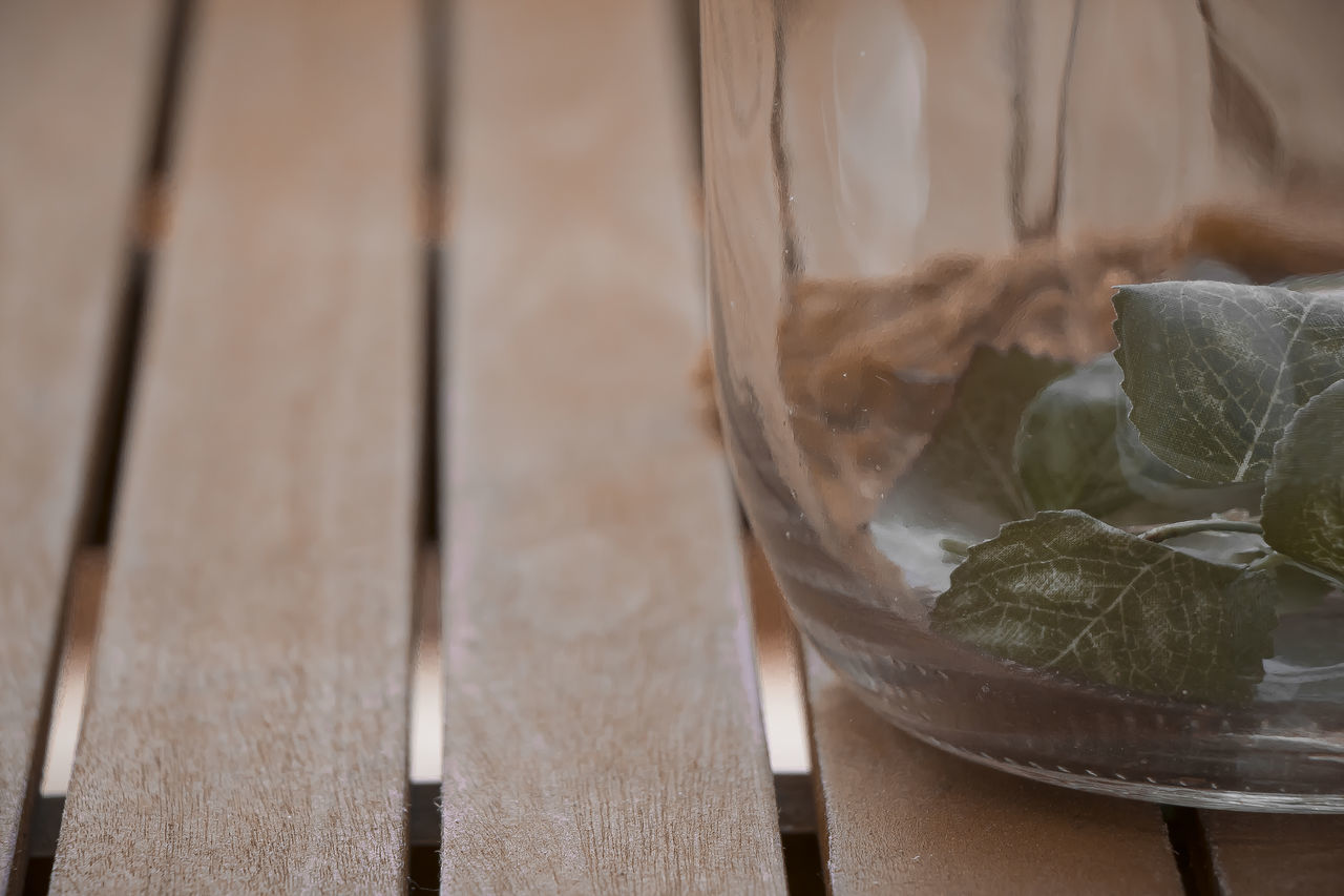Brown Close-up Decoration Focus On Foreground In A Jar Jar Jar On Tab Jars  Leaf Leafy Leaves Natural Condition Nature Nature Photography No People Outdoor Decorations Outdoor Table Outdoors Rustic Rustic Charm Rustic Style Table Table Decoration Wood - Material Wooden Texture