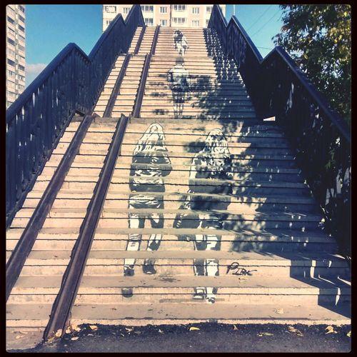 Стритарт на визе ) Yekaterinburg Street Art Silouette City