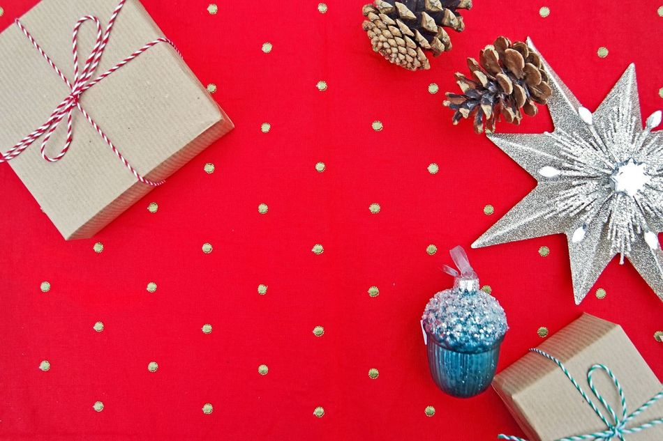 Handmade For You Red Christmas Directly Above Celebration Christmas Present Christmas Decoration No People Sweet Food Food And Drink Ribbon - Sewing Item Gift Food Choice Christmas Ornament Close-up Holiday - Event Indoors  Polka Dot