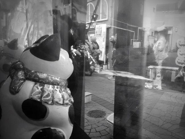 ふひ!いろんなものが映ってる(笑)実は激しい写り込みに帰ってから(◎_◎;)の写真群!さて私はどーこだ?!(笑) Street Architecture Monochrome Reflection まねきねこ 招き猫 Monochrome Photography