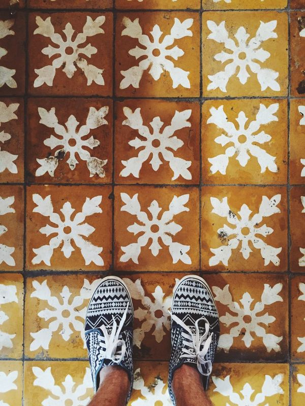 Backgrounds Canvas Shoe Close-up Day Design Floor Flooring Footwear Full Frame Human Foot Leisure Activity Lifestyles Low Section Multi Colored Pair Part Of Pattern Person Personal Perspective Shoe Side By Side Standing Tile Tiled Floor Unrecognizable Person