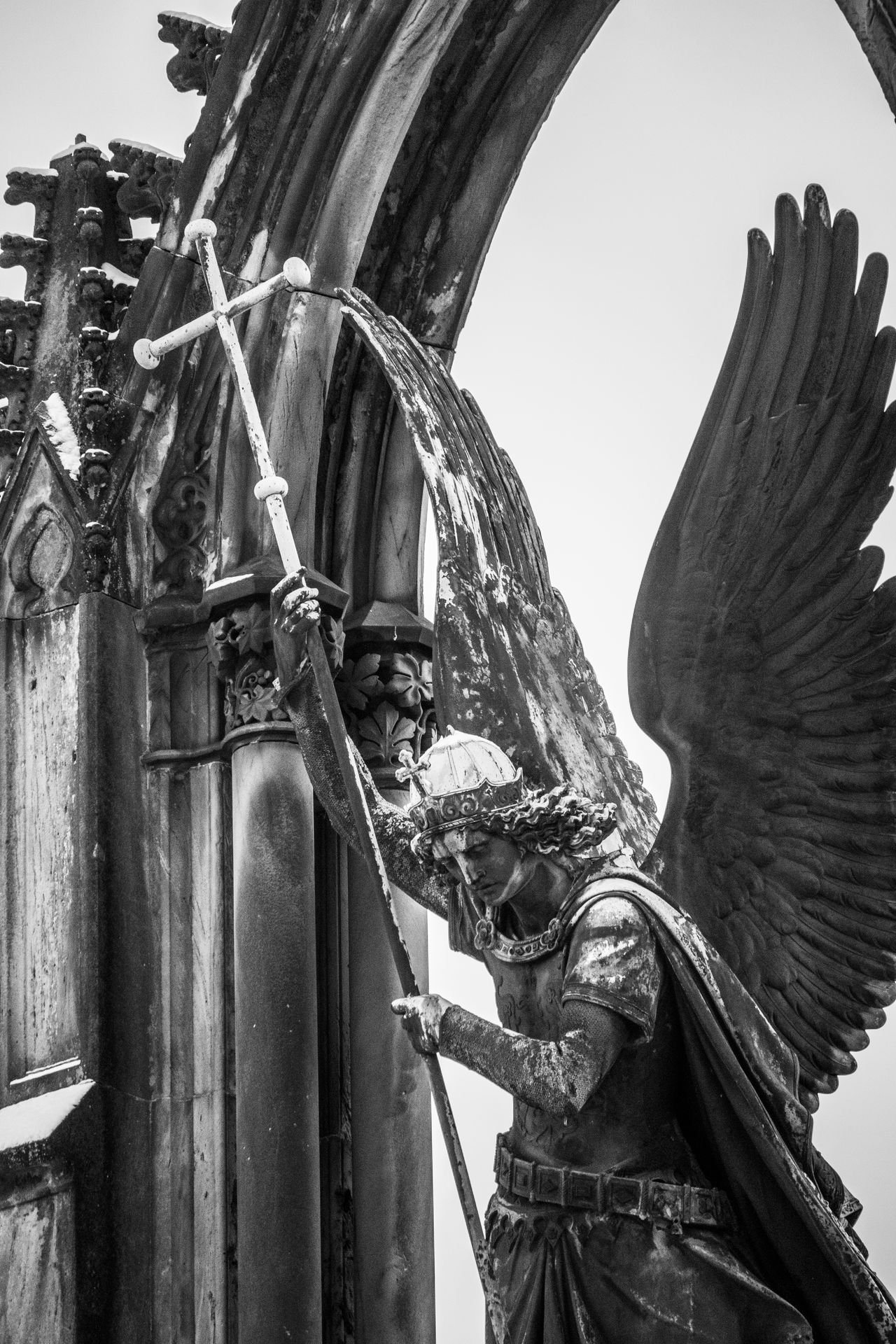 Archangel Archangel Michael Architecture Babelsberger Park Black & White Black And White Photography Blackandwhite Close-up Erzengel Michael Outdoors Potsdam Snow Statue Winter