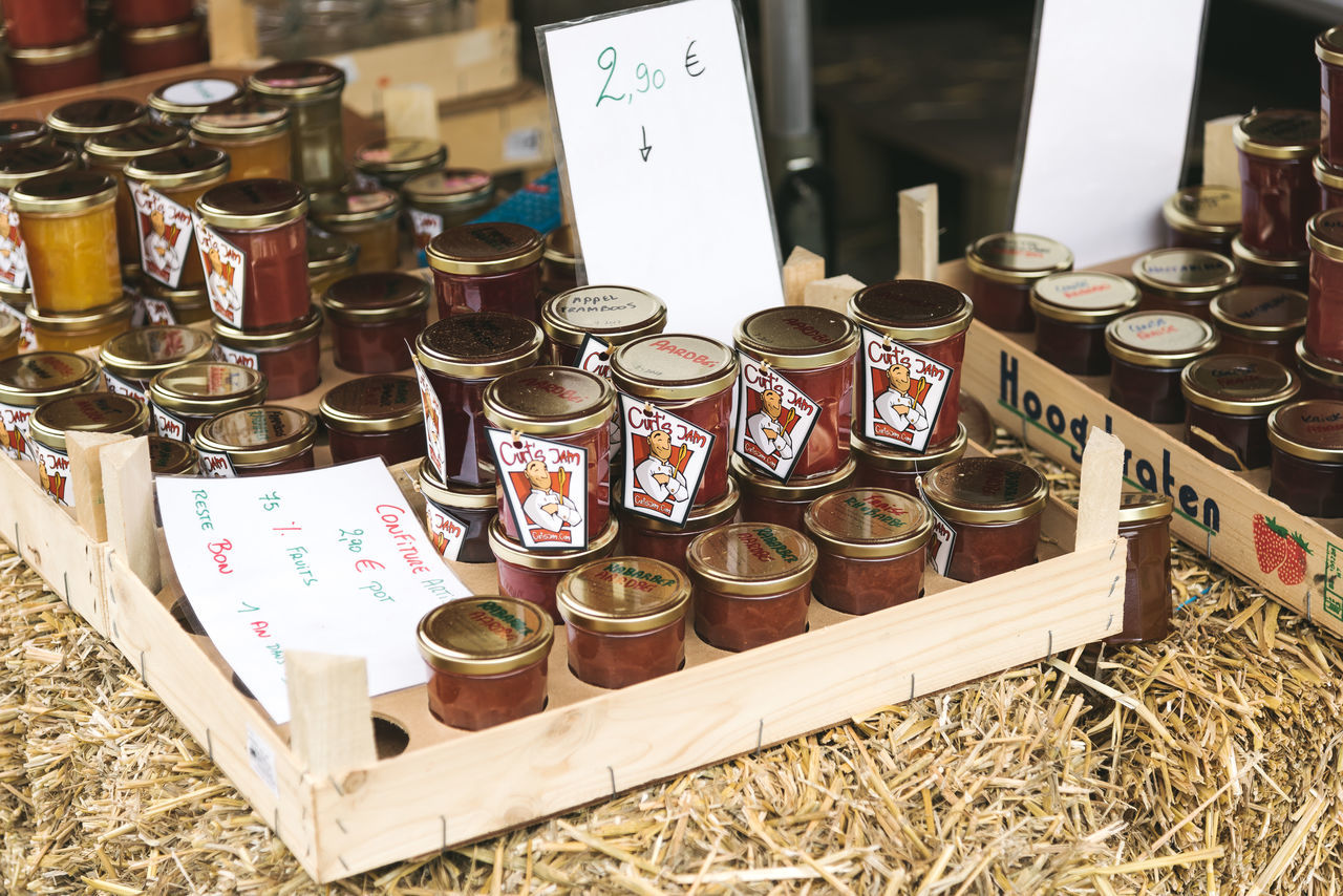 Marmelade jars in farmers Market in Mechelen Arrangement Choice Day Dessert Farm Farmers Market Food For Sale Fruits High Angle View Indoors  Jam Jar Jars  Large Group Of Objects Market Market Stall Marketplace Marmelade No People Price Tag Retail  Stall Sweet Variation
