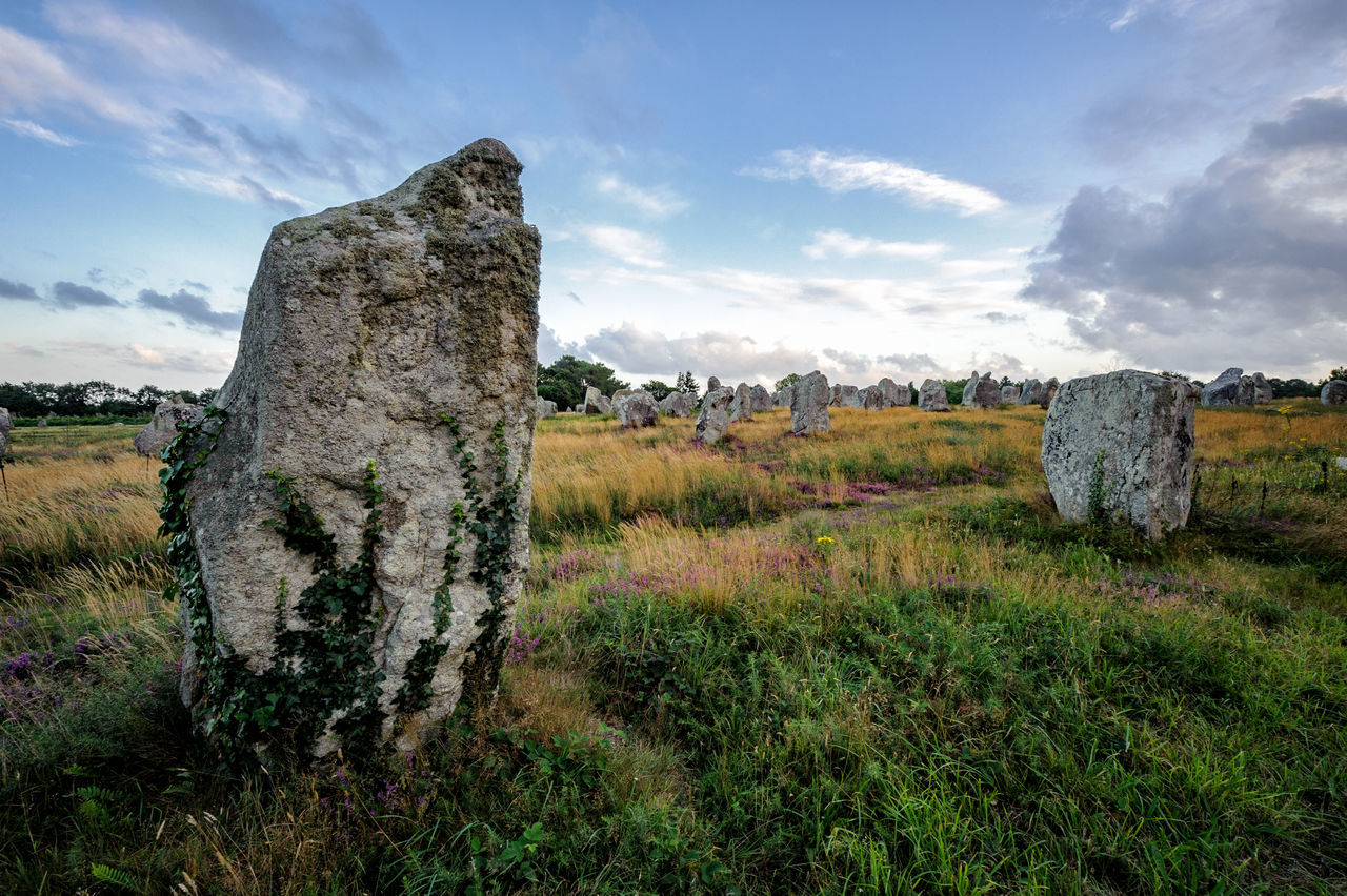 Alignment Ancient Bretagne Brittany Carnac Cloud Cloud - Sky Dolmen Field France Landscape Megalith No People Outdoors Scenics Sky Standing Stones Stone Travel Destinations