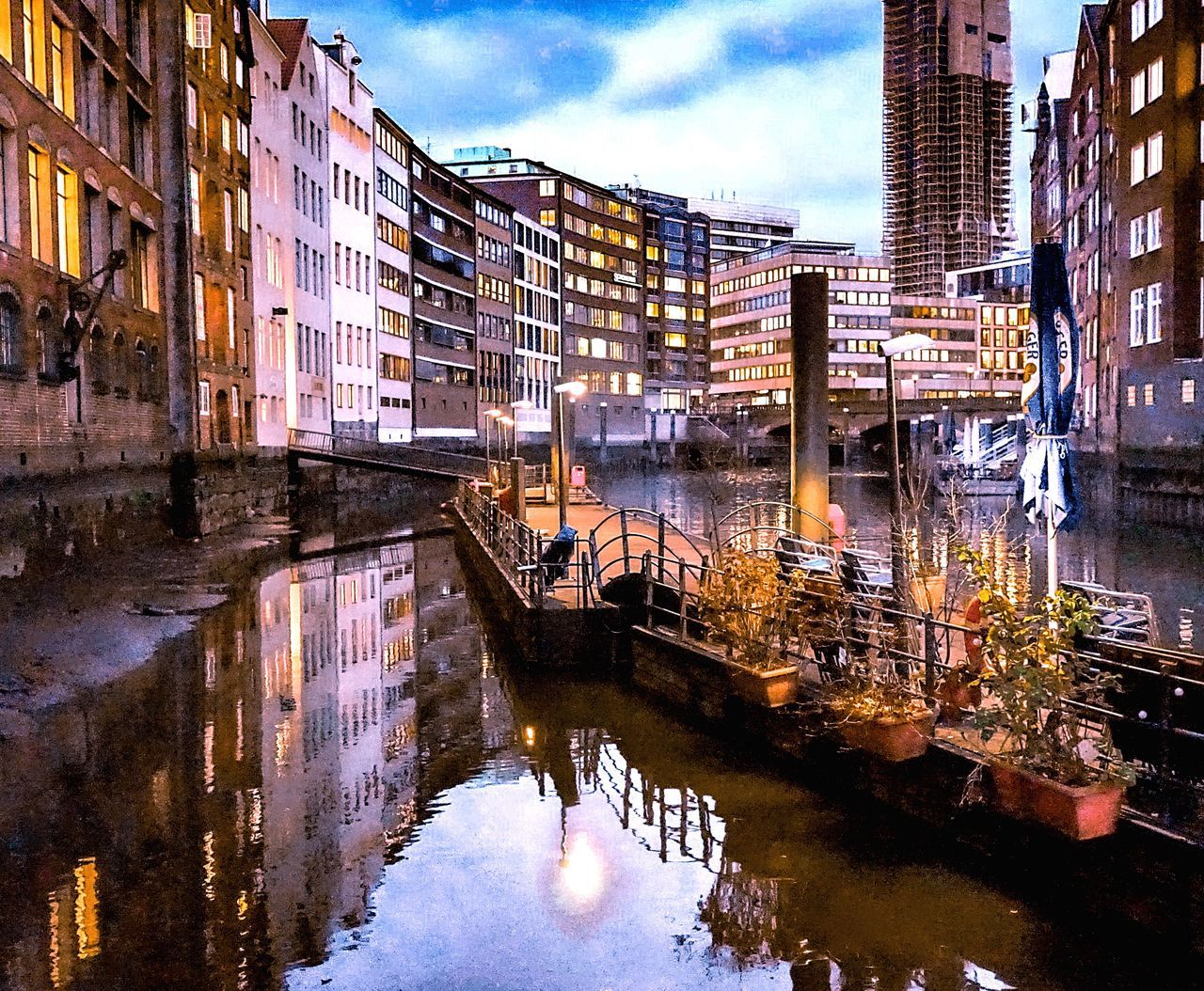 Building Exterior Built Structure Architecture City Reflection Water Canal Outdoors Waterfront Building Real People Sky Working Day Cityscape One Person Nature Fleet Canals And Waterways Night Lights