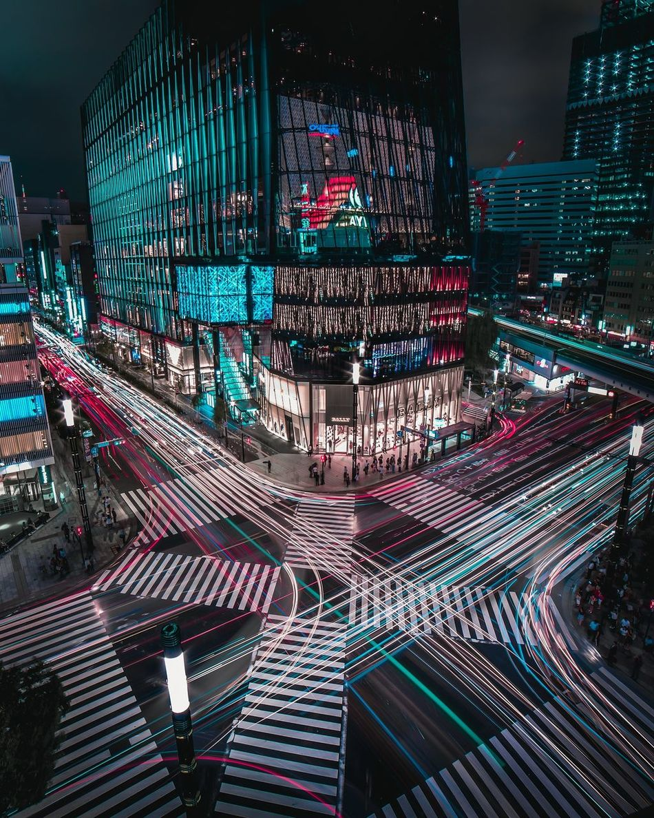 Tron. Night Night Photography Nightlife Long Exposure Light Trails Modern Future City Cityscape Tokyo Street Road Travel Fast Transportation Urban Skyline Cyberspace Connection Illuminated City Life Architecture Need For Speed Transportation