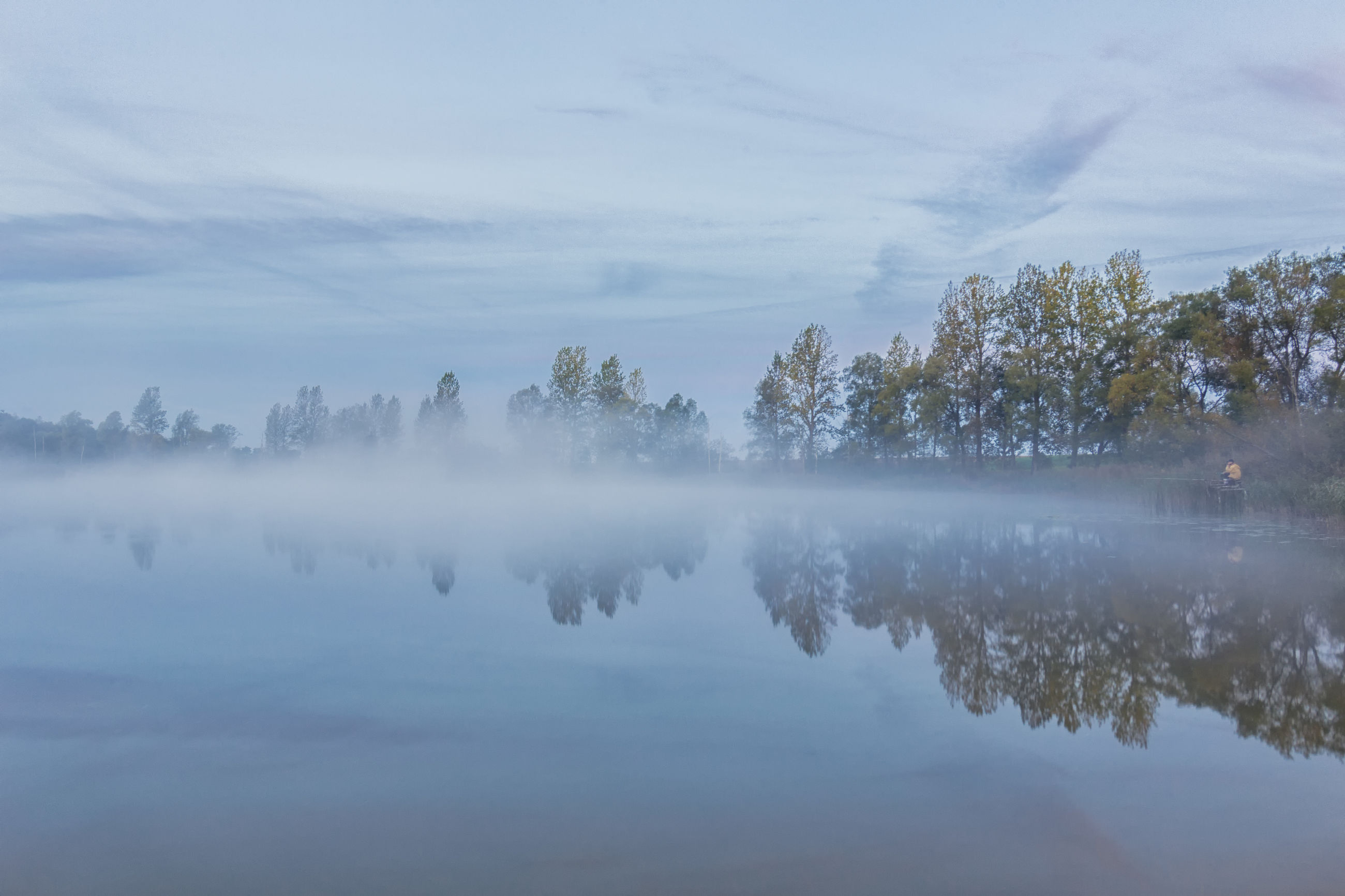 Krzysztof Tollas Autumn Beauty In Nature Fog Foggy Lake Nature Nikon D3100 Nowa Wieś Ujska, Reflection Sky Sunrise Tranquil Scene Tree Village Water