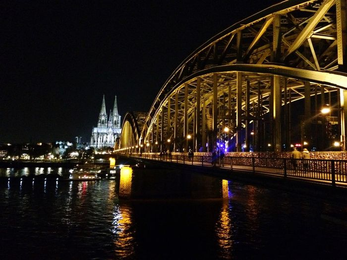 Architecture Night Illuminated Bridge - Man Made Structure Built Structure Connection Travel Destinations River Water Transportation Reflection Building Exterior City Travel Waterfront Outdoors Sky No People Chain Bridge