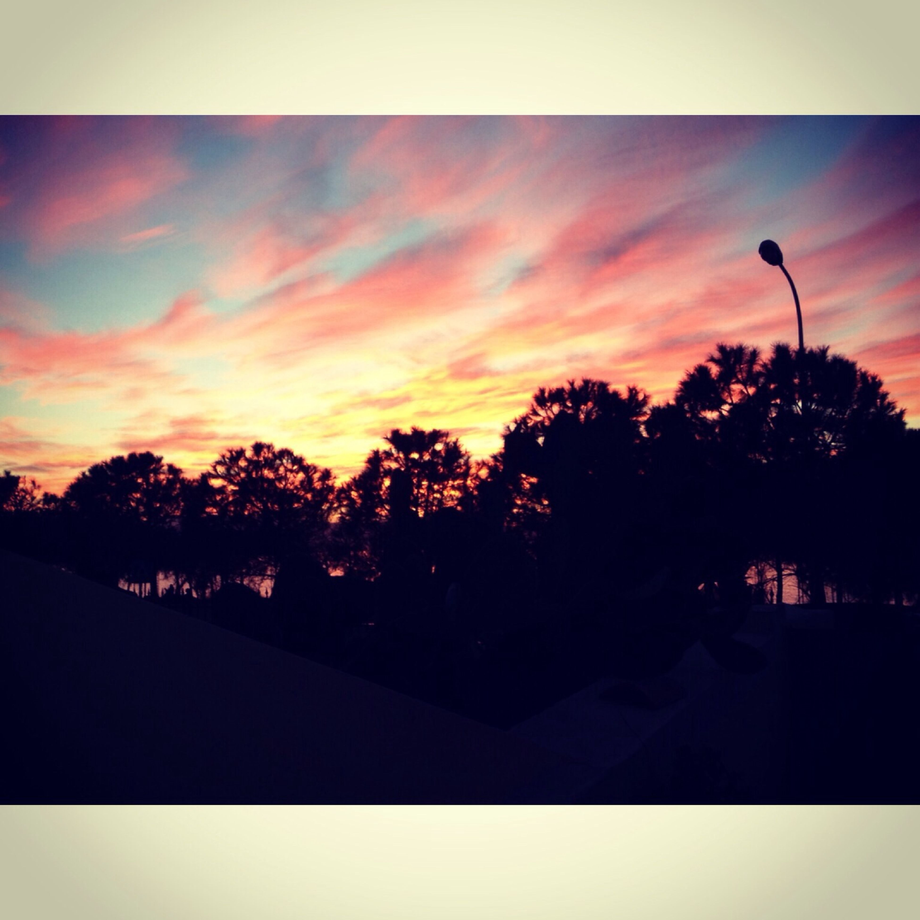 sunset, silhouette, tree, sky, orange color, cloud - sky, tranquility, beauty in nature, scenics, transfer print, tranquil scene, nature, auto post production filter, dusk, cloud, street light, idyllic, outdoors, no people, dramatic sky
