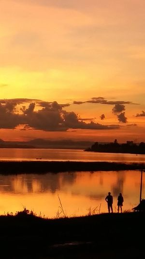 Sunset Silhouette Reflection Sky Nature Landscape Water Beauty In Nature Cloud - Sky Outdoors Scenics Real People Laos Vientiane John Nelson Lifeasiseeit Johnnelson Leisure Activity Horizon Over Land Red Sky Mekong River Mekong Beauty