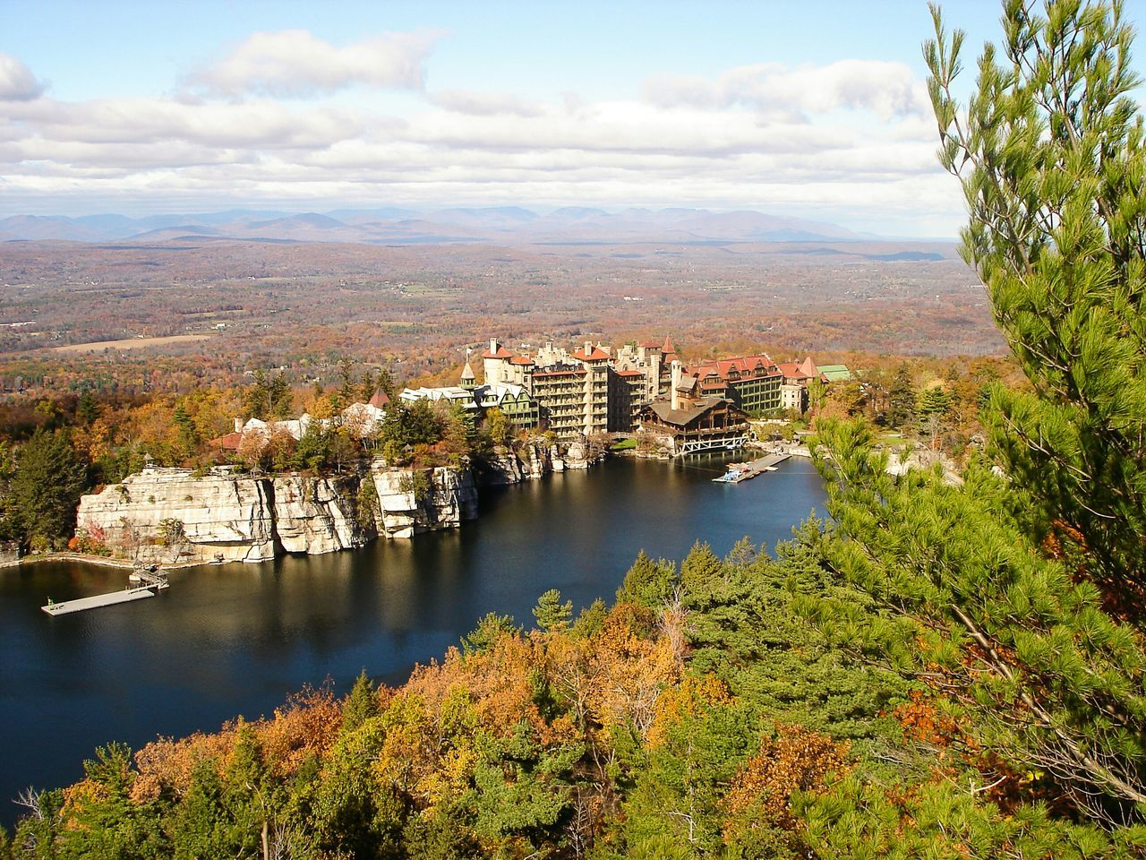 Little excursion from New Paltz, 130 km North of New York. This is the Mohonk Lake Landscape_Collection Lake New York State New Paltz Mohonk Preserve Mohonk Mountain House On A Hike View Autumn Colors East Coast Trip Escapism Travel Photography Landscapes With WhiteWall
