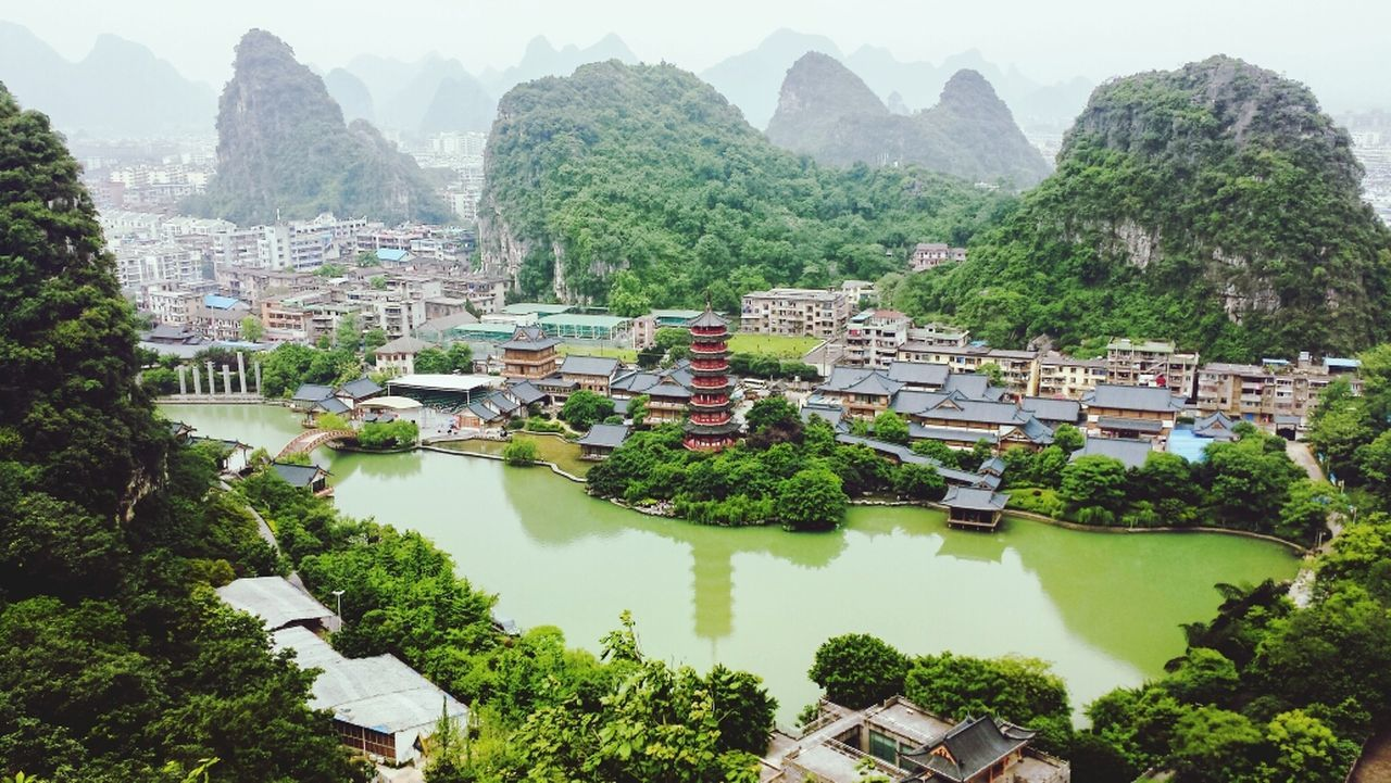 Guilin China Guanxi Guanxi Province ASIA Southern China Karst Formations Karst Pagoda Green Water Canal Cityscape Landscape Fog Afternoon High Angle Colour Of Life Miles Away