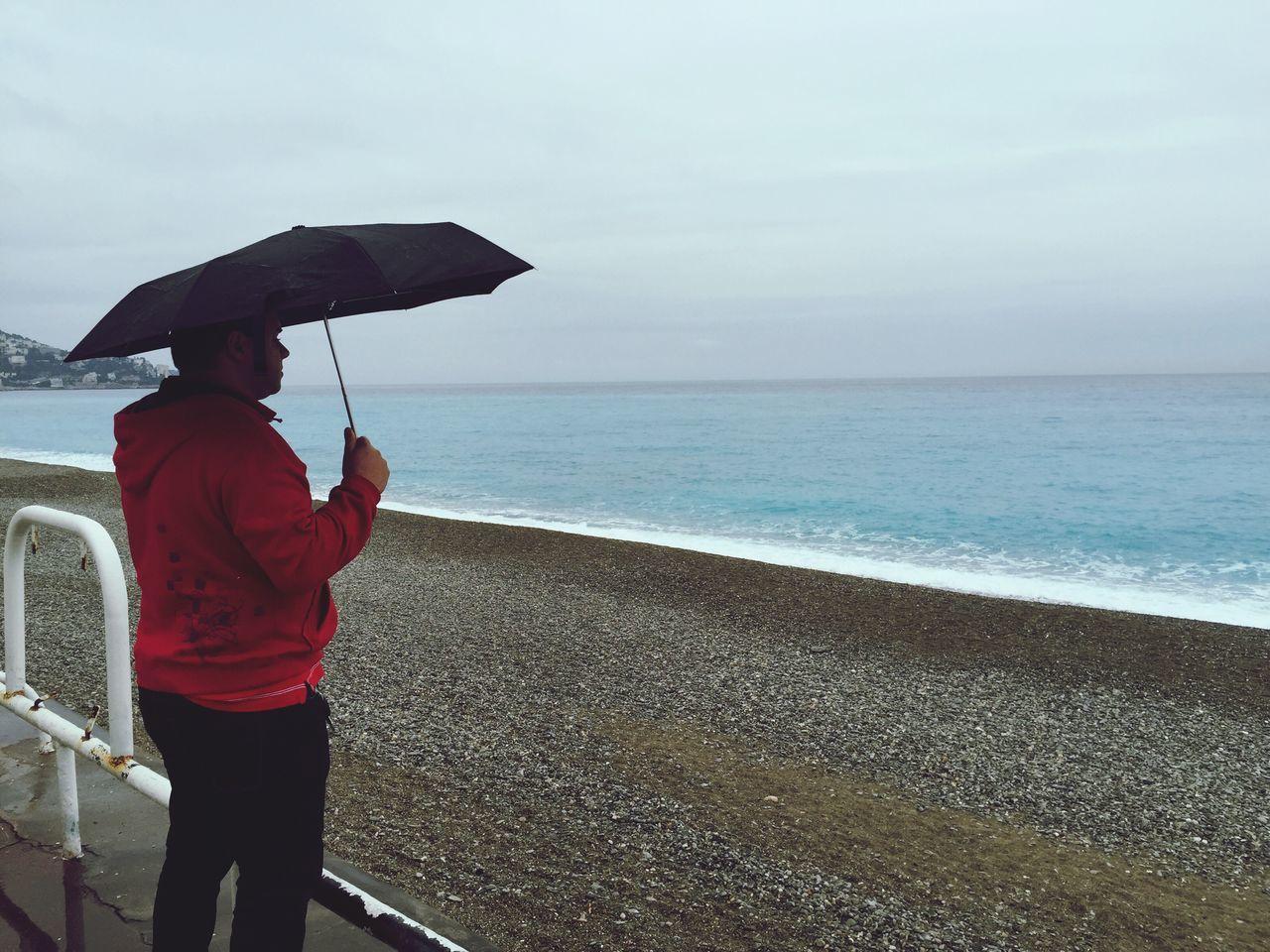 Rain Sea Person