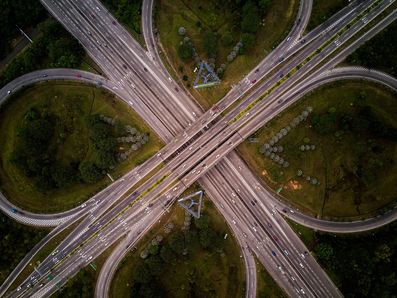 Floral Pattern of a Highway Interchange - aerial view Aerial Aerial Shot Aerial View Beauty In Nature Cars Day Directly Above Drone  Floral High Angle View Highway Interchange  Landscape Motorway Nature No People Outdoors Pattern Road Roundabout Rural Scene Transportation Winding Road