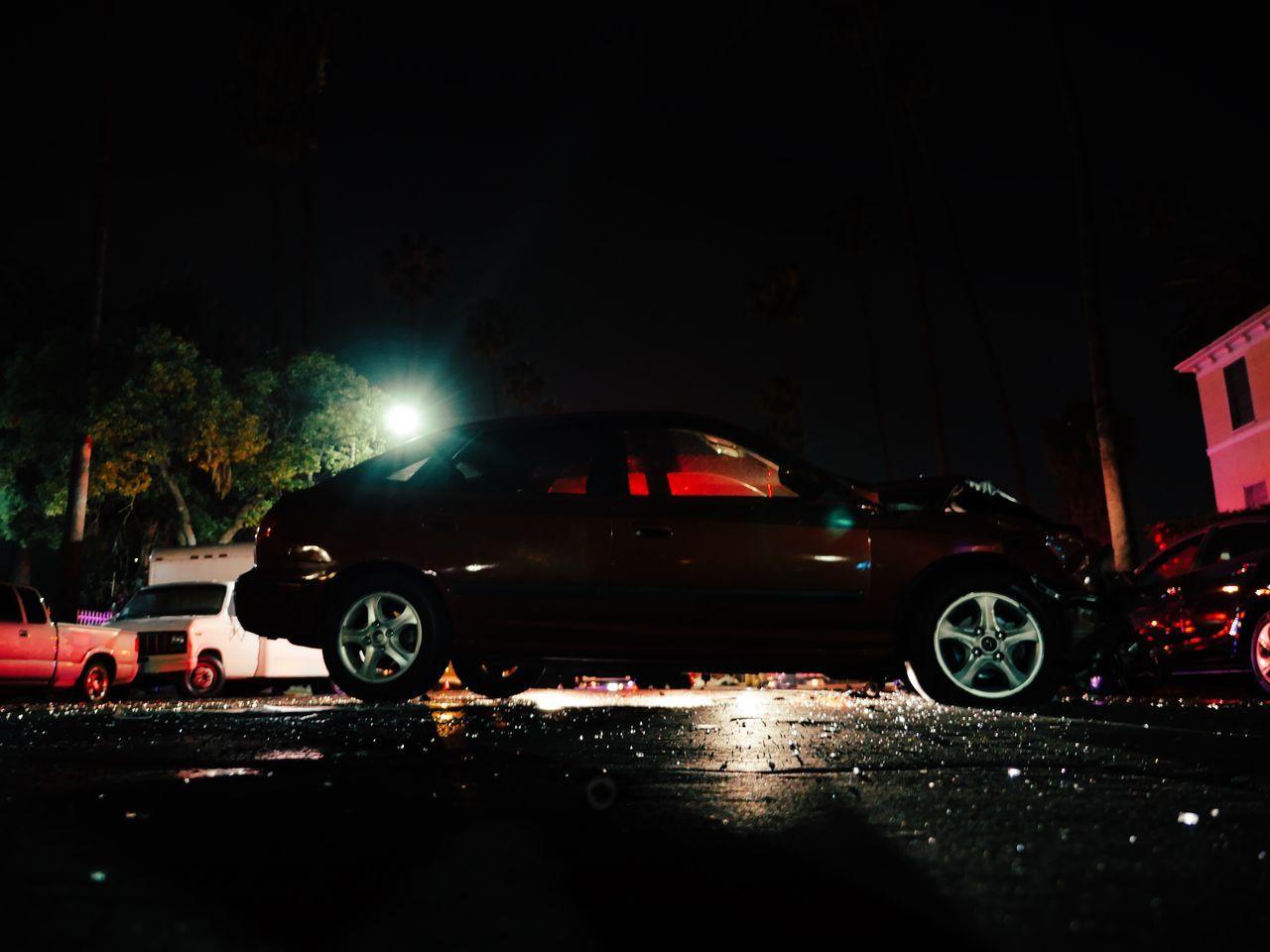 night, illuminated, transportation, car, land vehicle, wet, mode of transport, no people, road, outdoors