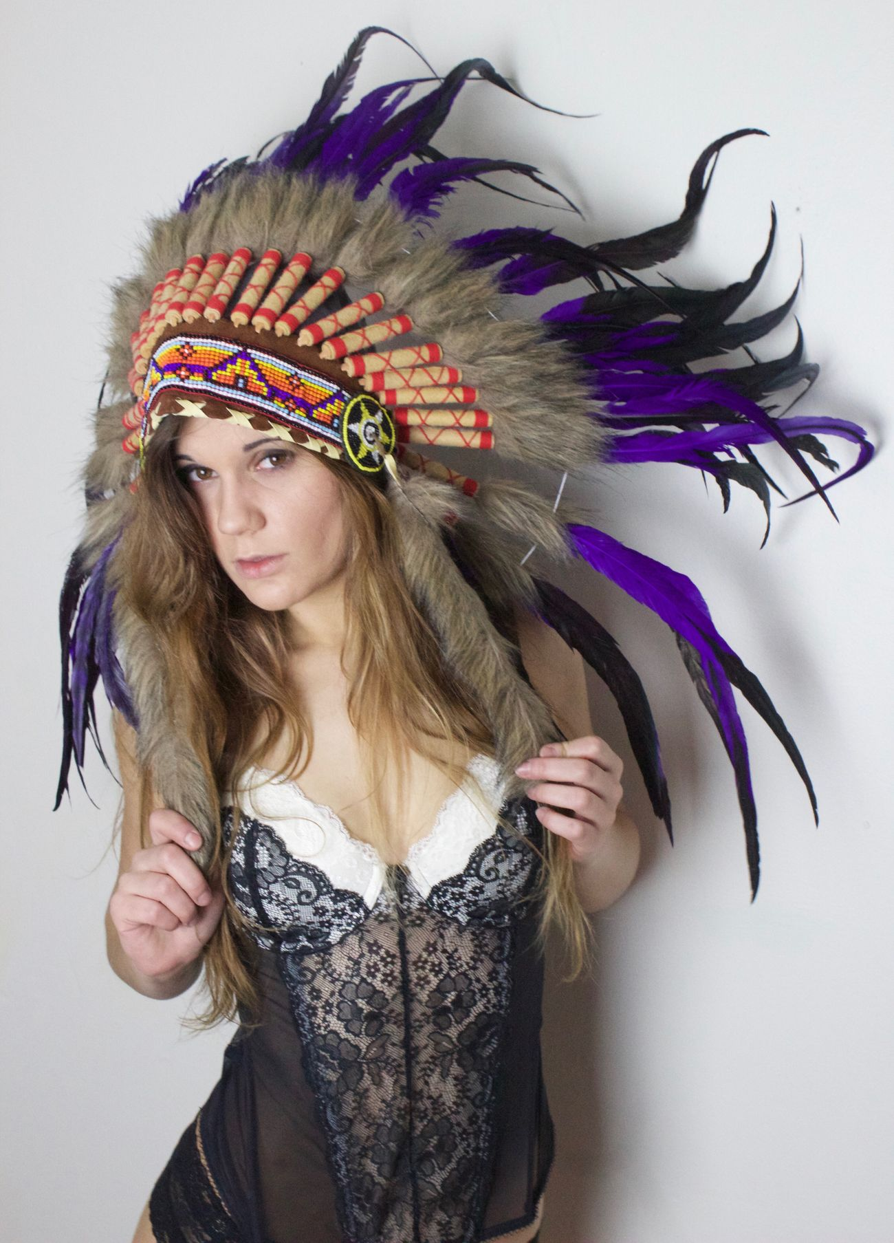 Beauty Headdress Studio Shot Dancer Blond Hair Multi Colored Feather  Beautiful Woman Beautiful People One Person Young Adult Adult Headwear Young Women Traditional Clothing Dancing Lifestyles Glamour Women Performance White Background EyeEm Best Shots WJII Photography Boudoir Portrait Of A Woman