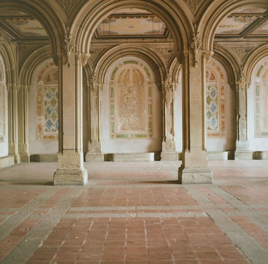 Arches of Bethesda Terrace on a summer day in New York City. Arch Arches Architecture Bethesda Terrace Central Park Film Photography New York New York City NYC Summer Tan Travel Travel Destinations Urban Urban Landscape