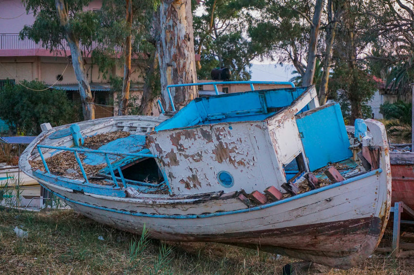 Mode Of Transport Transportation Nautical Vessel Boat Abandoned Moored Damaged Obsolete Old Tree Blue Run-down Discard Deterioration Outdoors Day Weathered Worn Out No People