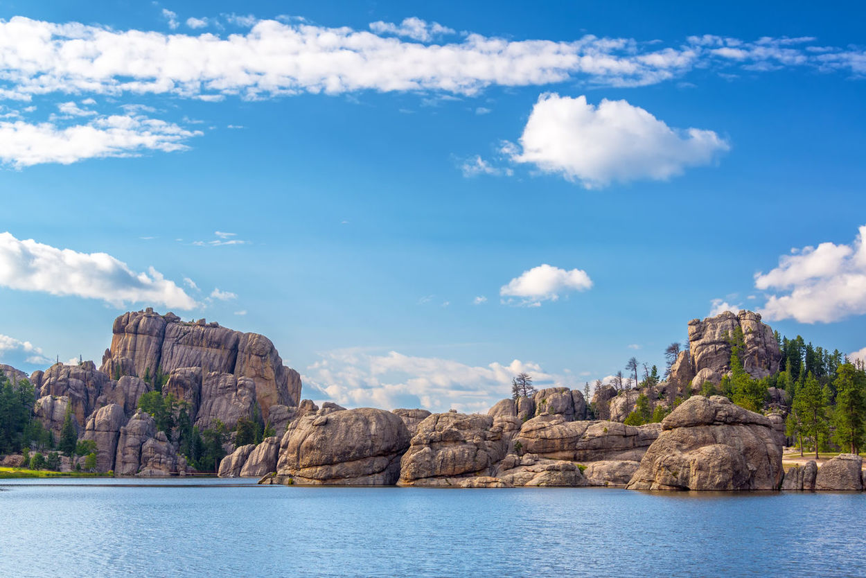Beautiful rock formations at Sylvan Lake in Custer State Park Beauty In Nature Black Hills Cloud - Sky Custer State Park Day Lake Landscape Nature No People Outdoors Rock Formation Scenery Scenics Sky South Dakota Sylvan Lake Tourism Travel Travel Destinations USA Water