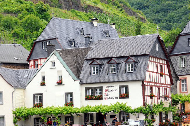 cityscape of village Beilstein at Moselle river in Germany. Typical half-timbered houses. Architecture Beilstein Beilstein Mosel Beilstein Moselle Building Exterior Built Structure Façade Half-timbered Half-timbered House Half-timbered Houses House Mosel Moselle Moselle Valey Moseltal Residential Structure Summer Town Village