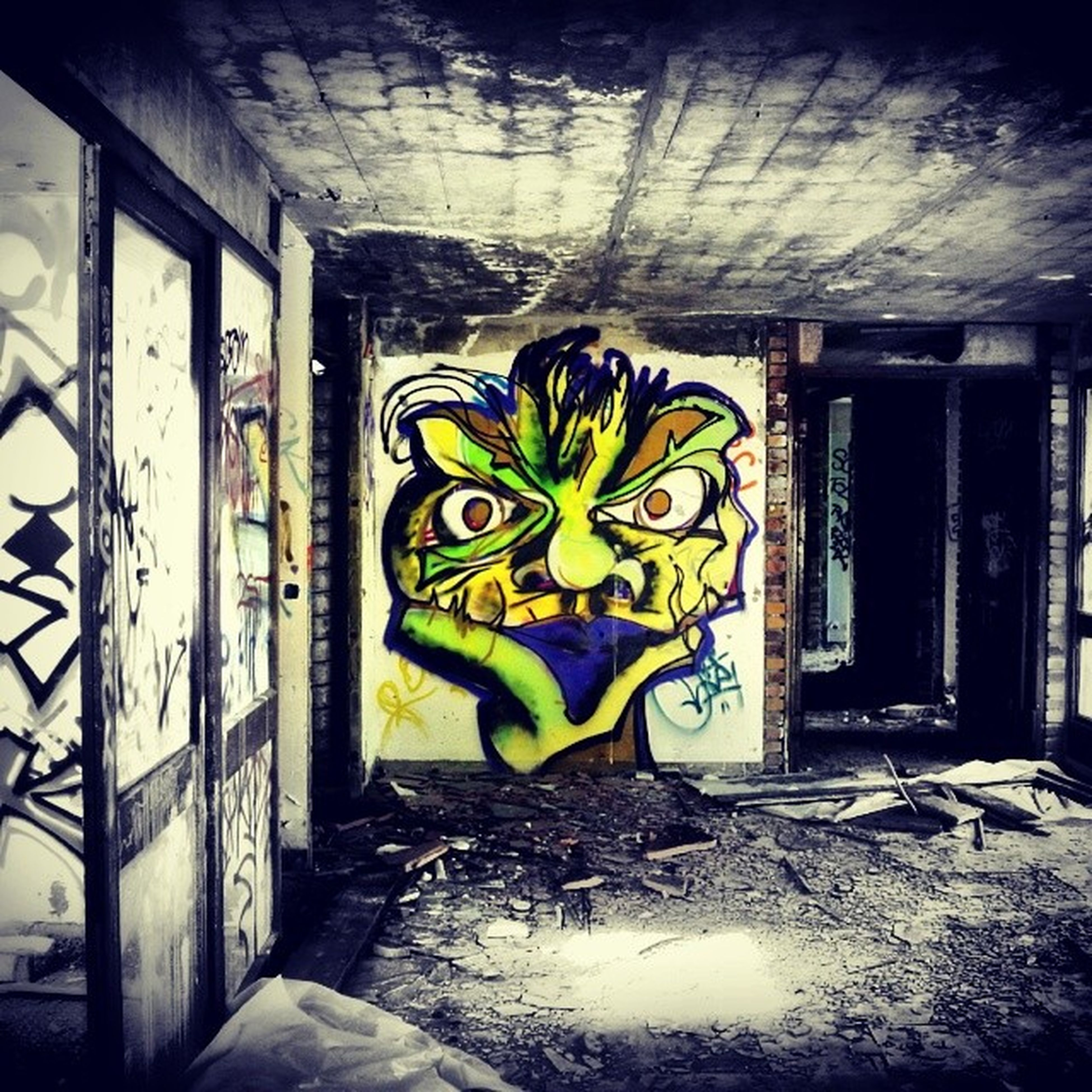 graffiti, art, art and craft, indoors, creativity, architecture, built structure, wall - building feature, human representation, wall, abandoned, multi colored, mural, ceiling, door, design, old, window, no people
