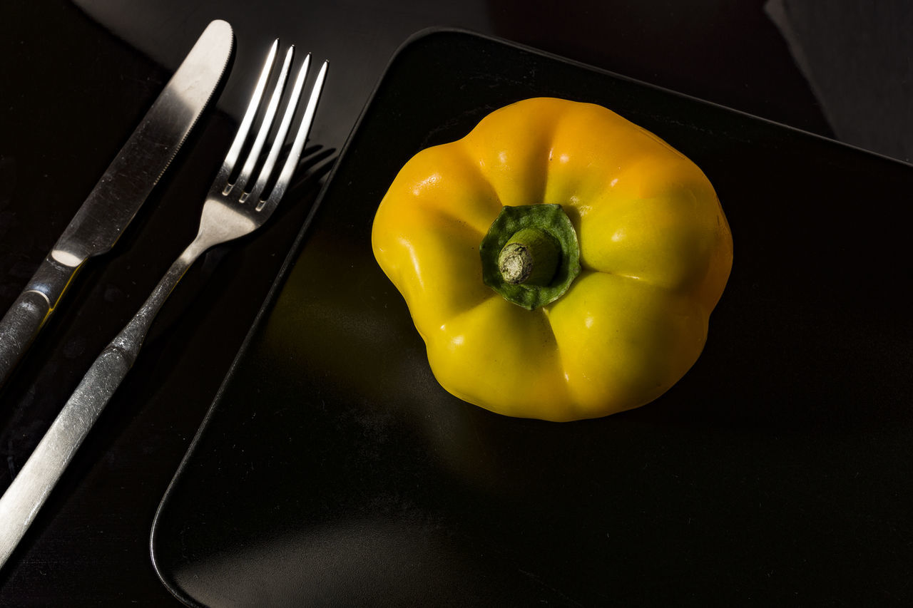 Black Background Black Plate Close-up Day Dinning Food Food And Drink Fork Freshness Healthy Eating Indoors  Knife & Fork Knife And Fork No People Pepper Plate Still Life Table Yellow Yellow Pepper Yellow Pepper On Black Plate