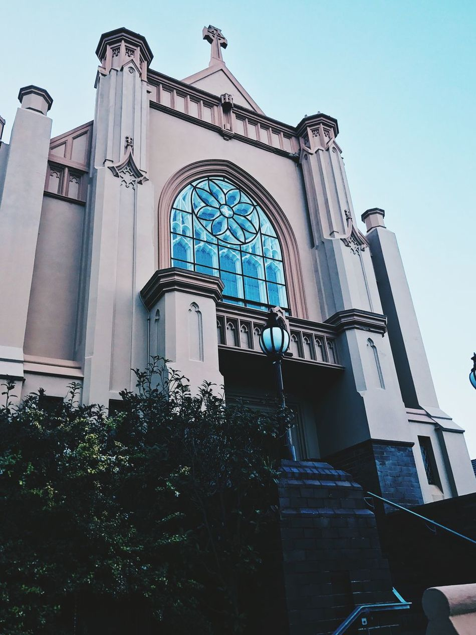 Architecture Low Angle View Window Building Exterior Built Structure Day No People Religion Outdoors Architecture_collection Building Exteriors Building Church Churches Sky Scenics Beautiful Clear Sky Low Angle View Tranquil Scene Architecture Place Of Worship Blue