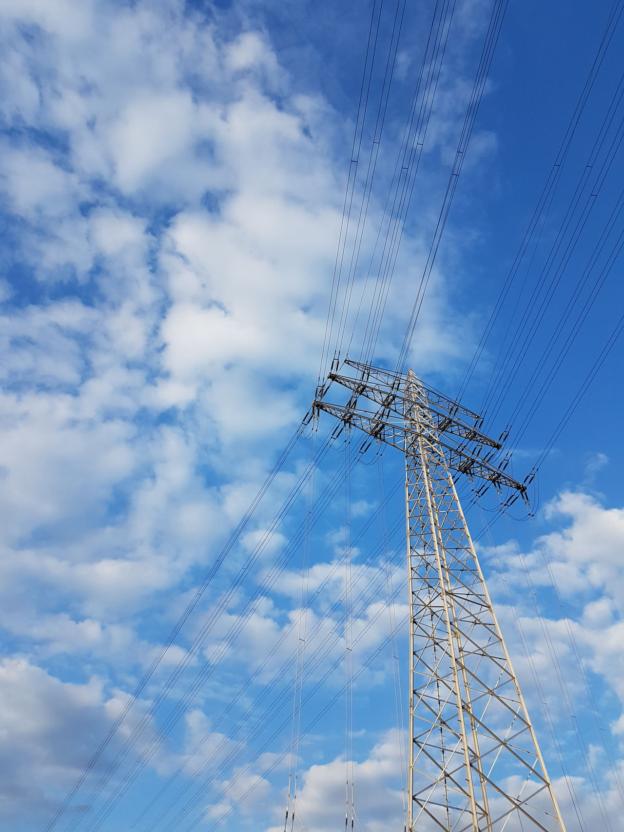 Sky Cloud - Sky Cable Connection Technology No People Low Angle View Blue Electricity  Day Outdoors Low Angle View GERMANY🇩🇪DEUTSCHERLAND@ Electric Tower  Electricity Tower Electricity