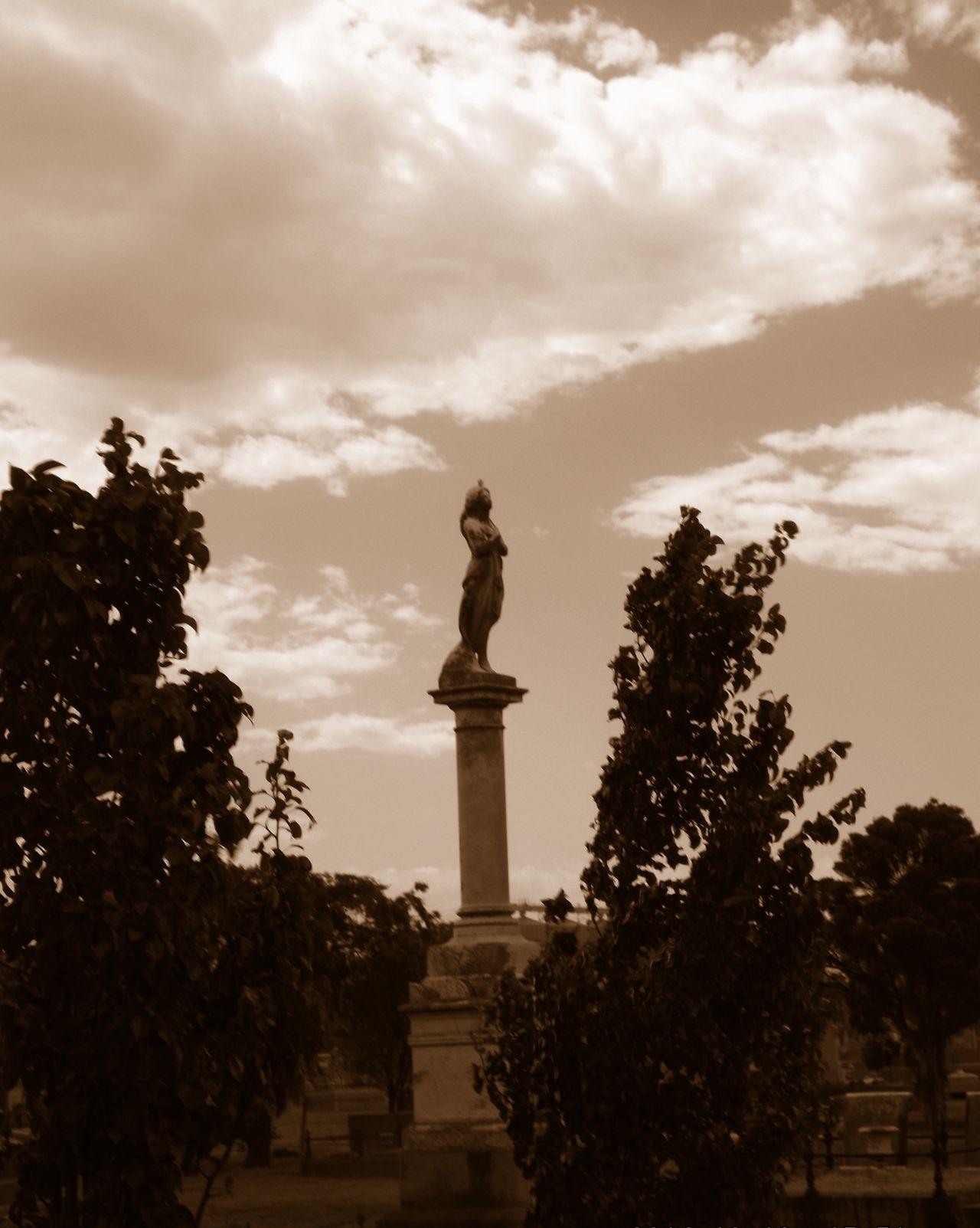 Statue Cemetary Sepia