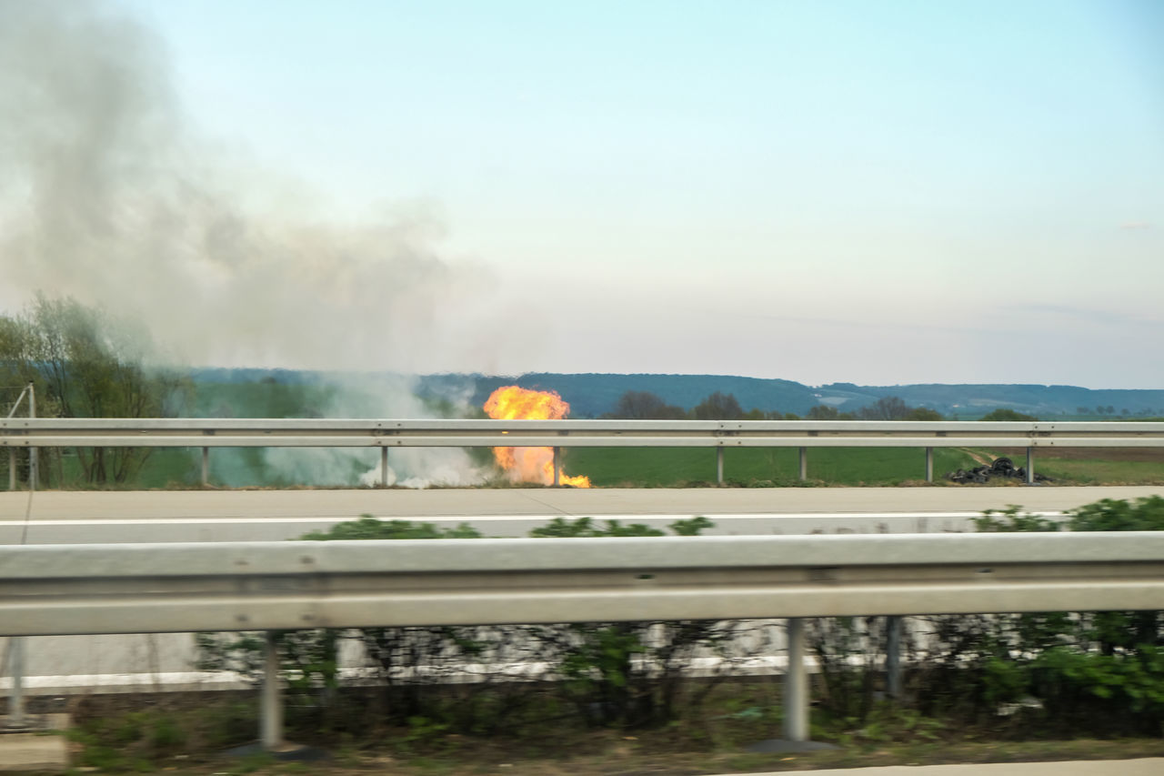 Burning Tires on the Autobahn - Drivebyphotography Fire Pollution In My World Environment Roadtrip