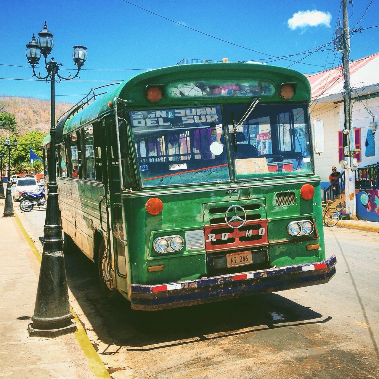 Bus Mercedes Green Green Color Oldschool Vintage Vintage Cars Old Timer Transportation Nicaragua San Juan Del Sur , Nicaragua Upclose Street Photography