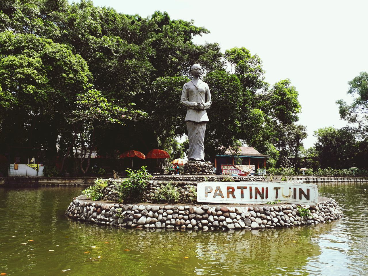 Taman Balekambang Jawatengah Solo Human Representation Male Likeness Tree Water Statue Day Outdoors Sculpture No People Sky Nature