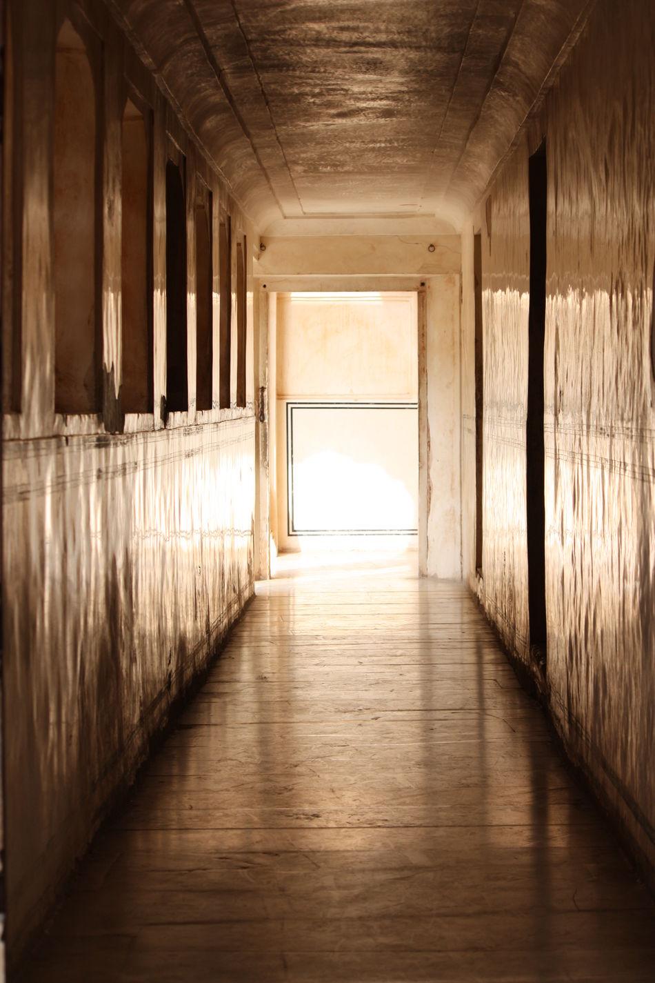 Corridor in Amber Fort, Jaipur, India Amber Fort Corridor Depth Of Field Diminishing Perspective Empty Empty Corridor Hallway Interior No People Travel Travel Photography