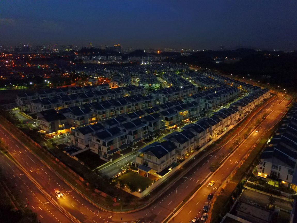 Cityscape Aerial View Night High Angle View Dusk Housing Area taman Kinrara Puchong Outdoors No People Street Sunset Sky