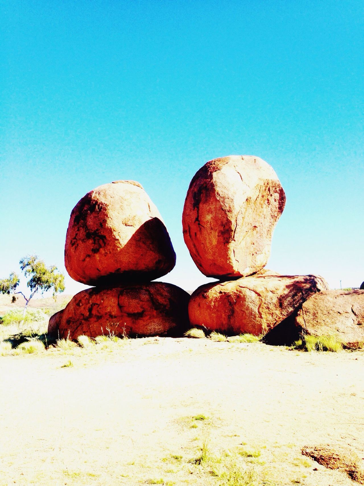 Devil's Marbles Australia Outdoors Geology Beauty In Nature Clear Sky Nature Rock - Object EyeEmNewHere Devils Marbles BYOPaper!