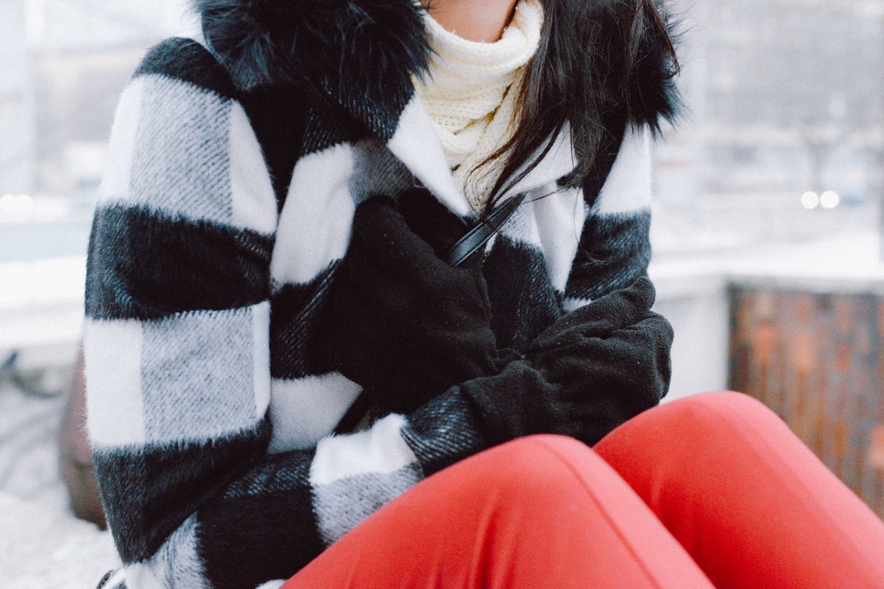 Adult City Cold Cold Temperature Cold Weather Colors Day Fashion Lifestyles Loneliness One Person Portrait Real People Snow Squares Warm Clothing Winter