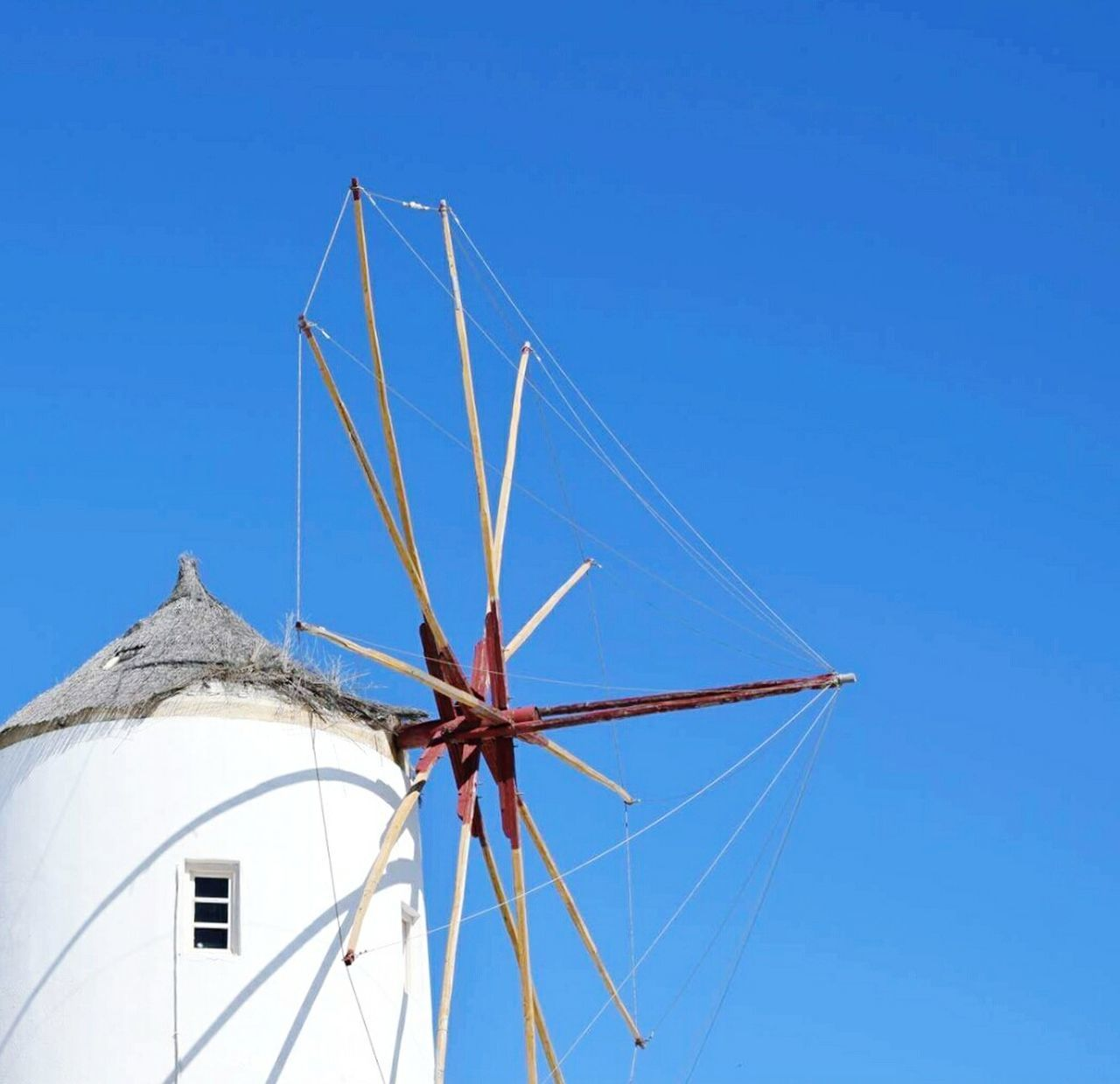 Blue Clear Sky Sunlight Low Angle View Architecture Windmill Outdoors Sky No People Day 3XPSUnity Photography Greece Hellas Santorini Eyeemphotography Minimalist Photography  Mimimalmood EyeEm Best Shots EyeEm Gallery 3XSPUnity EyeEmNewHere Detailphotography Picsoftheday Architecture