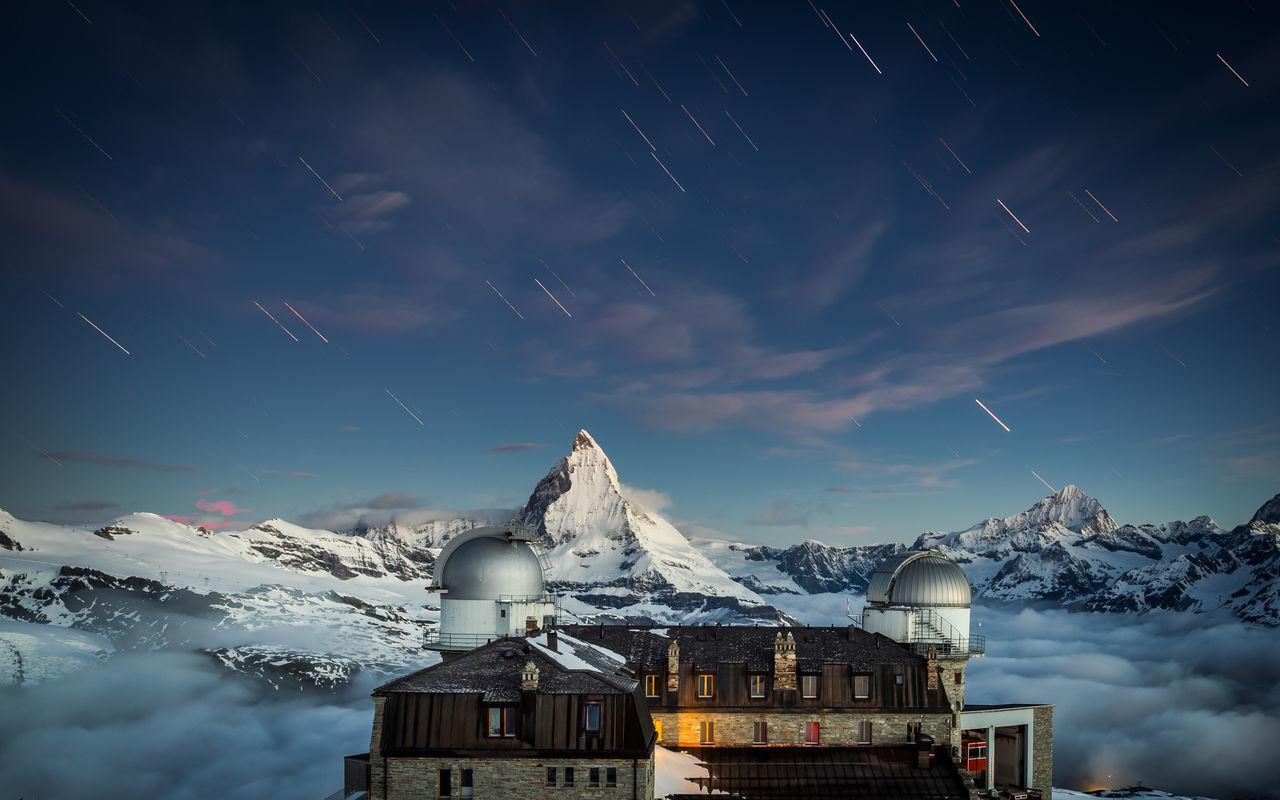 Berge Gornergrat Hotel Matter Moon Moonset Mountain Mountain Hotel Night Nightphotography No People Outdoors Peak Snow Switzerland Wallis Winter Zermatt