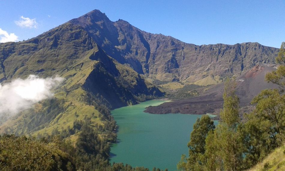 Natural in Rinjani with samsung Ace 3 PhonePhotography Mountain Rinjanimountain Forest Forest Park Danau Danausegaraanak Wonderful Indonesia Blue Blue Sky Green Water Green Jungle