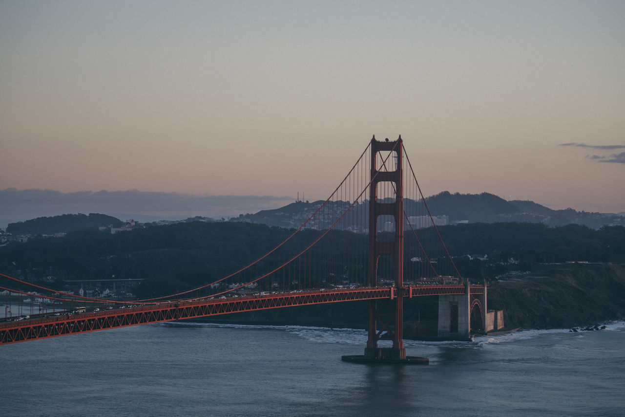 Architecture Beauty In Nature Bridge Bridge - Man Made Structure Built Structure Chain Bridge City Connection Day Golden Gate Bridge Mountain Nature No People Outdoors River San Francisco Scenics Sky Sunset Suspension Bridge Transportation Travel Travel Destinations Water