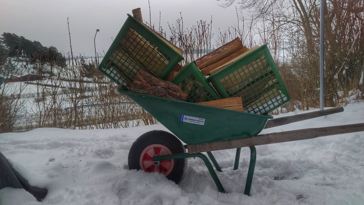 It's Cold Outside Wheelbarrow Work Garden Woods At Work Winter Snow Covered Northern Europe Scandia Scandinavia Sweden Snow ❄ Snow Wintertime Sverige Cold Kolmården Winter