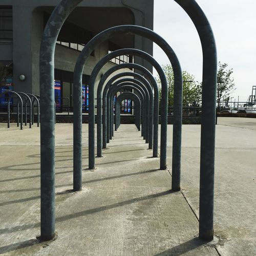 Looking through a bike rack Bicycle Parking Bike Rack New York City