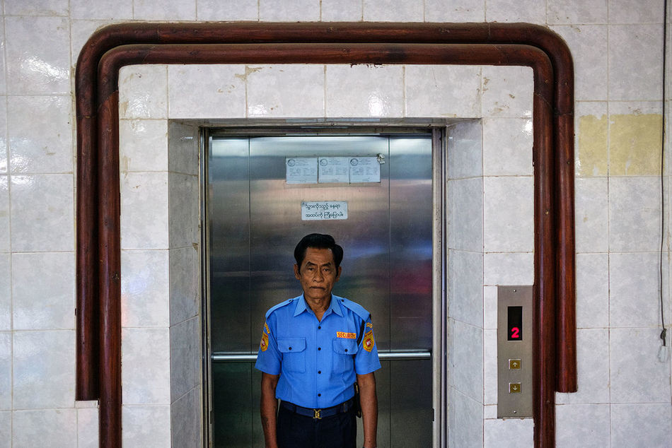 A security guard in a shopping centre in Mawlamyine, Myanmar. City Myanmar Mawlamyine Fujifilm_xseries FUJIFILM X-T2 Fujifilm_poland Portrait Travel Security Guard