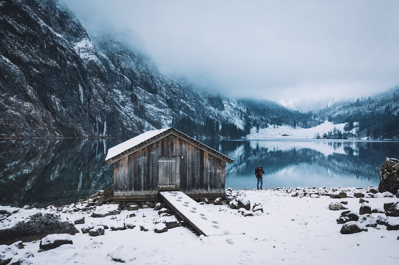 Mornings well spent. Bavaria Germany Winter Alps Adventure VSCO Snow Winter Cold Temperature Weather House Beauty In Nature Mountain Nature Tranquil Scene Snowcapped Mountain Built Structure Tranquility Scenics Building Exterior Covering Day Outdoors Architecture Sky Landscape