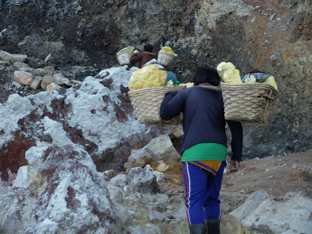 Indonesian workers carrying suffer in Ijen Crater, Indonesia. Adult Beauty In Nature Day Farmer Hard Work Ijen Ijen Crater INDONESIA Java Kawah Ijen Lifestyles Men Nature Occupation One Person Outdoors People Real People Rear View Roadtrip Suffer Trek Trekking Volcano Working