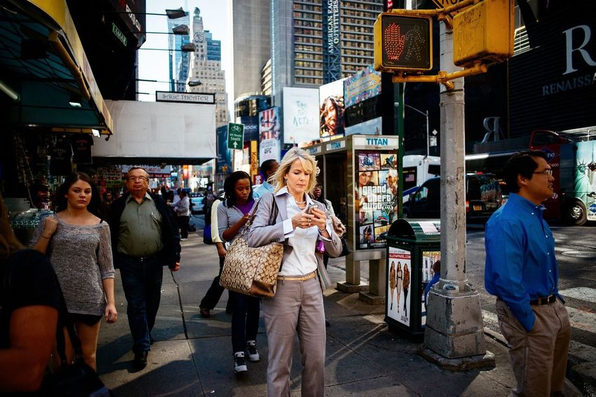 Mobile check... Street Photography New York City Manhattan Street Light Real People City Life Urban Photography Empire State The Big Apple Times Square NYC