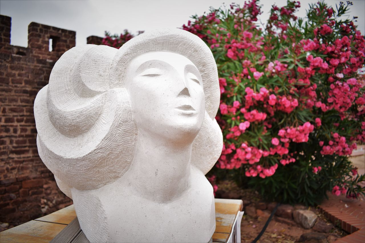 Ancient Art Art And Craft Carving - Craft Product Close-up Contemplation Craft Creativity Expression Expressive Sculpture Flower Focus On Foreground Growth Human Representation Nature No People Outdoors Plant Sculpture Statue Stone Material Thought Woman Women Fine Art Photography