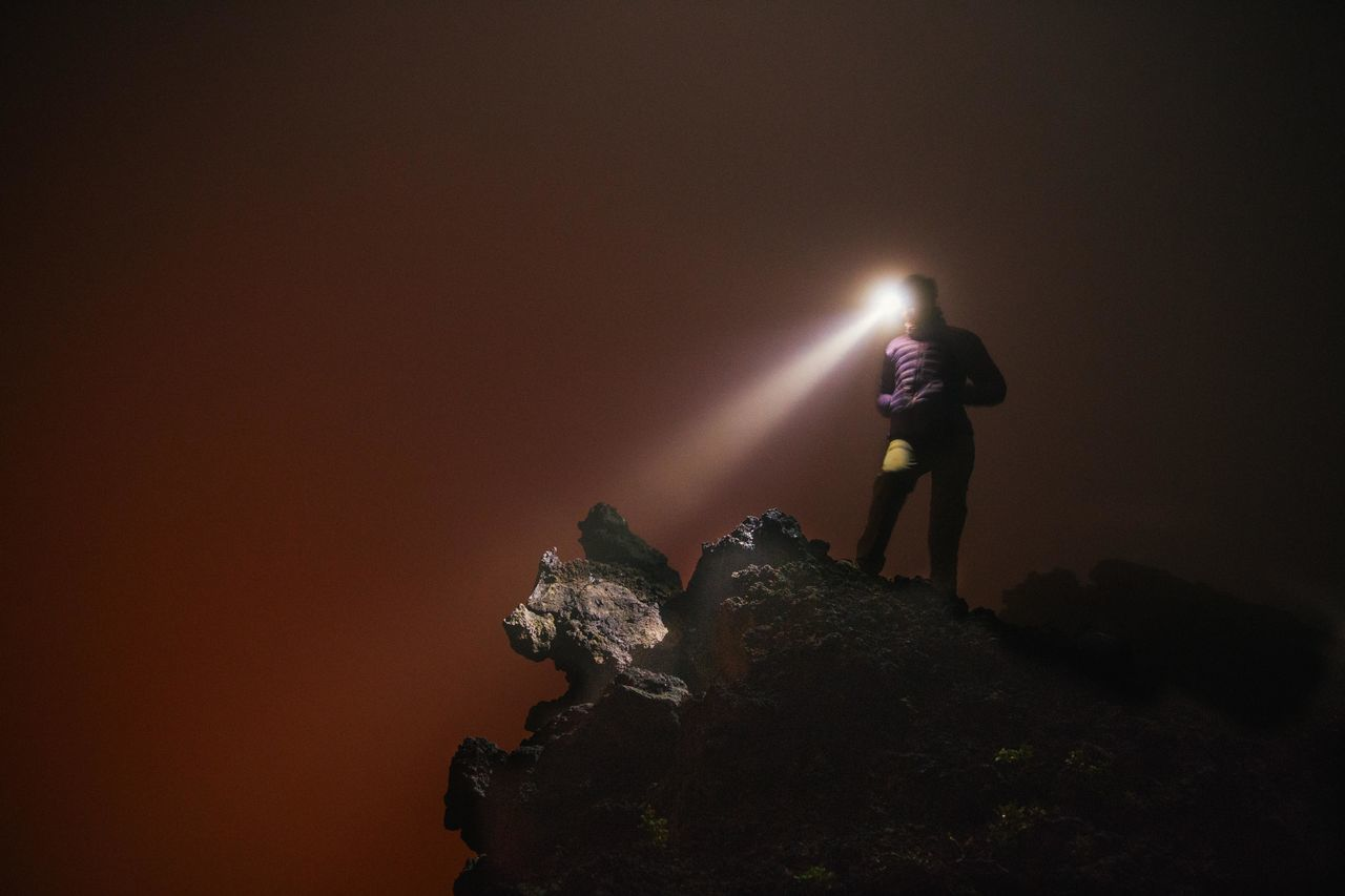 Adventure Africa Democratic Republic Of The Congo Female Fog Foggy Hiking Landscape Light Beam Light Trail Long Exposure Long Exposure Shot Mist Mountain Mountain Peak Mountain Peaks Mountain View Night Photography Orange Color Orange Sky Red Scenics Virunga Volcano