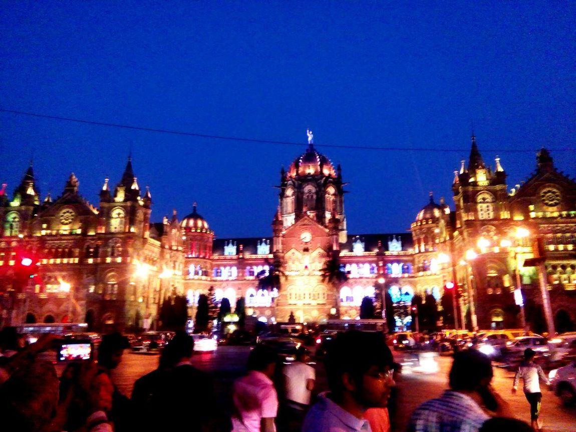 Night Illuminated Travel Destinations Large Group Of People CST Mumbai Lights Best Place To Visit Amchi_Mumbai Love Mumbai EyeEm Best Shots