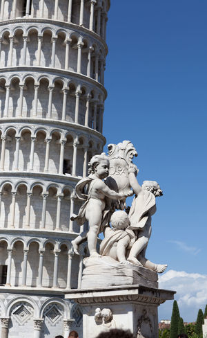 Italy Holidays Pisa Toscana Accient Atraction Sculpture Summer Tower Of Pisa